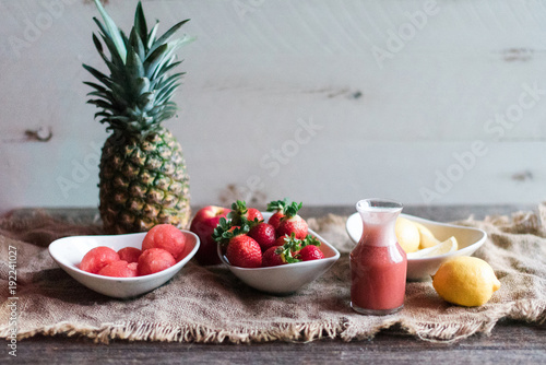 Pink smoothie with fresh fruits