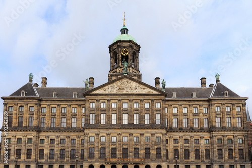 Photo  View to the Royal Palace of Amsterdam, Netherlands on the Dam Square