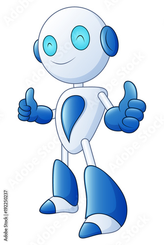 Fotografia, Obraz  Cute cartoon robot smile and giving thumbs up on white background