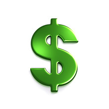 Dollar Green Symbol. 3D Rendering Illustration