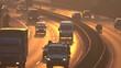 CLOSE UP: Heavy traffic on busy multiple lane highway in golden light sunset