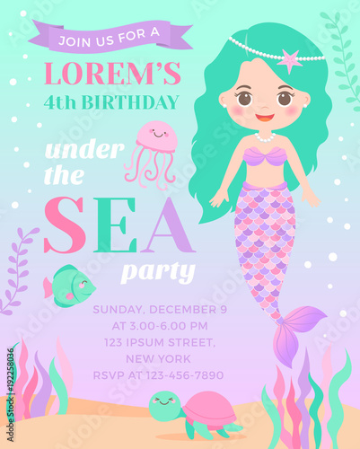 Photographie  Cute mermaid and marine life illustration for greeting card design
