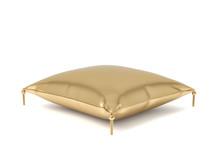 3d Rendering Of A Pillow Made Of Golden Fabric With Gold Trim And Intricate Tassels.