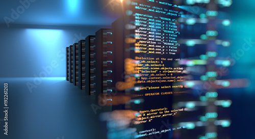 Photo  server room 3d illustration with node base programming data  design element