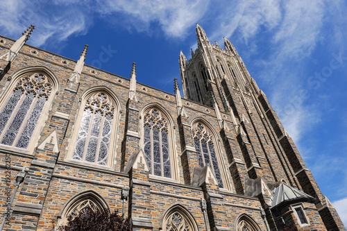 Billede på lærred low angle view on the church tower in Duke University