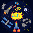 Space icons in flat style. Vector rocket, shuttle space ship, planet and union station illustration