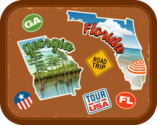 Georgia, Florida, Travel Stickers With Scenic Attractions And Retro Text On Vintage Suitcase Background