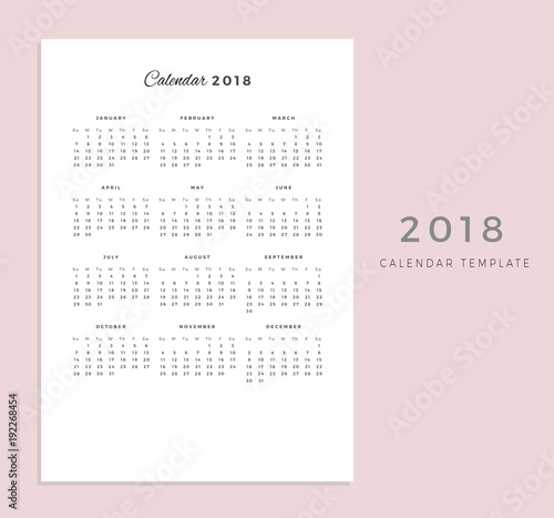 2018 Vector Calendar Template 2018 Simple Planner New Year