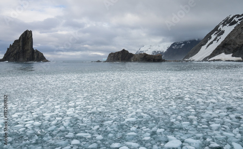 Fotobehang Antarctica Elephant Island with cloudy skies above and a bay filled with sea ice in the foreground.