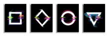 Glitch Effect  Frame Banner, Modern Style Design Elements. Vector Illustration