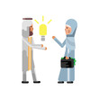 Arabic businessman holding idea light bulb