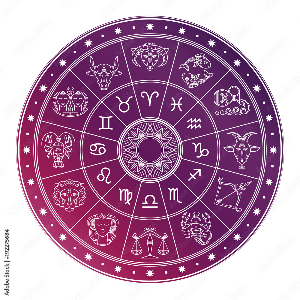 Fototapeta Bright and white astrology horoscope circle with zodiac signs