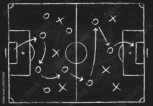 Fotografía  Soccer game tactical scheme with football players and strategy arrows on chalk b