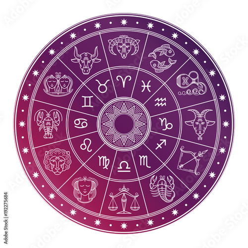 Bright and white astrology horoscope circle with zodiac signs Canvas Print