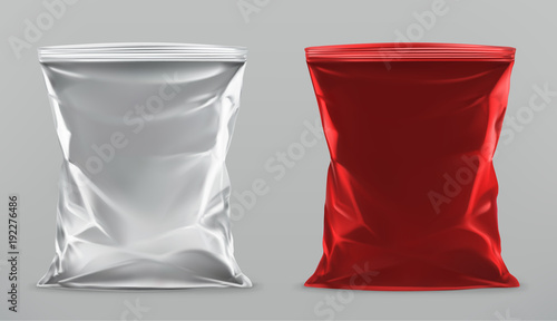 Fotografía Packaging for snacks, packing chips. 3d realistic vector mock up