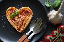 Spaghetti Pasta Heart Love Italian Food Diet Abstract Concept On Black Background