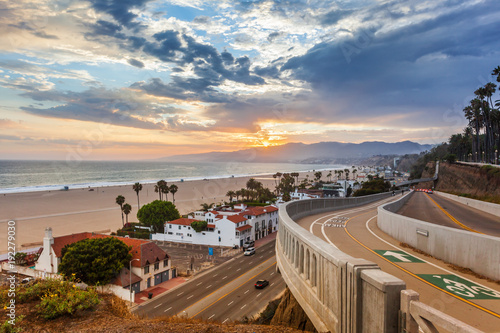 Poster Light pink Sunset view from california incline