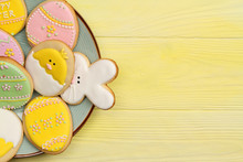 Easter Cookies On A Plate With...