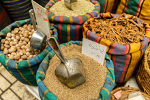 Different Herbs And Spices At The Street Market In Tel-Aviv