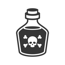 Glass Poison Bottle Icon On Wh...