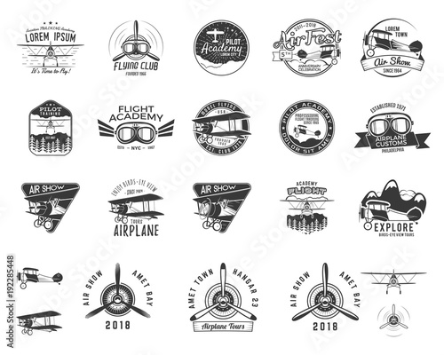 Fototapeta Vintage hand drawn old fly stamps. Travel or business airplane tour emblems. Biplane academy labels. Retro aerial badge isolated. Pilot school logos. Plane tee design, prints, web design. Stock vector obraz na płótnie