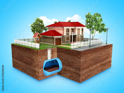 concept of Sewerage in a private house 3d render on blue Wallpaper Mural