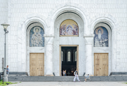 The front door of the Serbian Orthodox Church of St. Sava in Belgrade