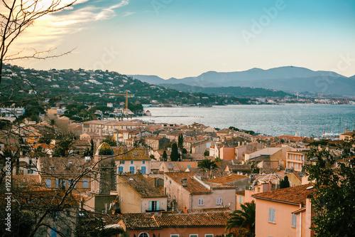 Photo View of the city of Saint-Tropez, Provence, Cote d'Azur, a popular destination f