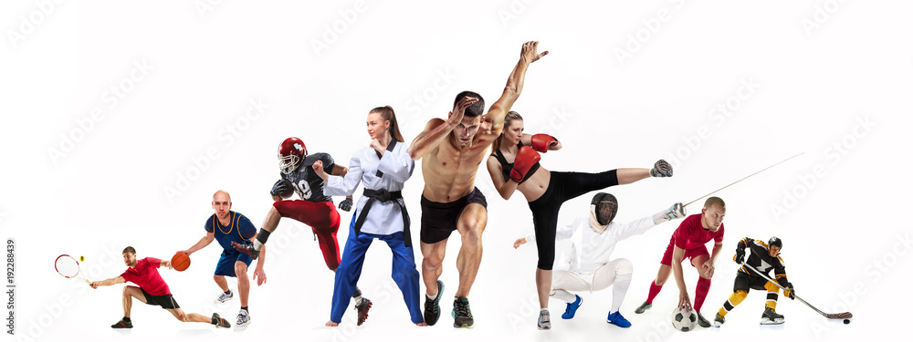 Fototapety, obrazy: Sport collage about boxing, soccer, american football, basketball, ice hockey, fencing, jogging, taekwondo, tennis