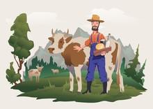 A Cow Farmer In A Meadow, Alpi...