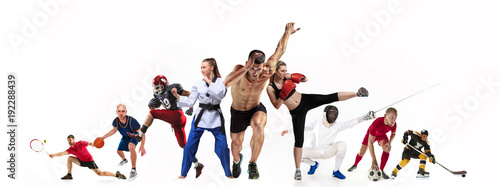 Sport collage about boxing, soccer, american football, basketball, ice hockey, fencing, jogging, taekwondo, tennis - 192288439