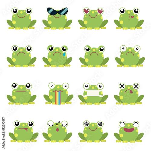 Naklejka premium Wektor ilustracja zestaw emotikonów żaba