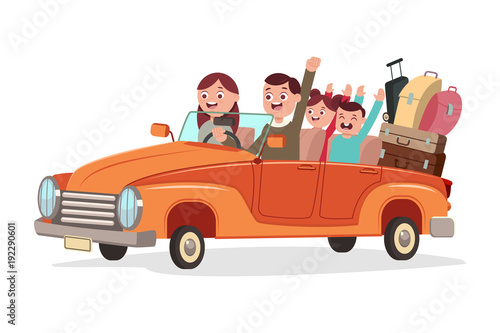 Happy family travel by retro car. Vector cartoon flat illustration of people trip isolated on a white background.