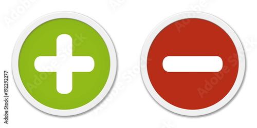 Fotografía  Buttons Plus und Minus in grün und rot