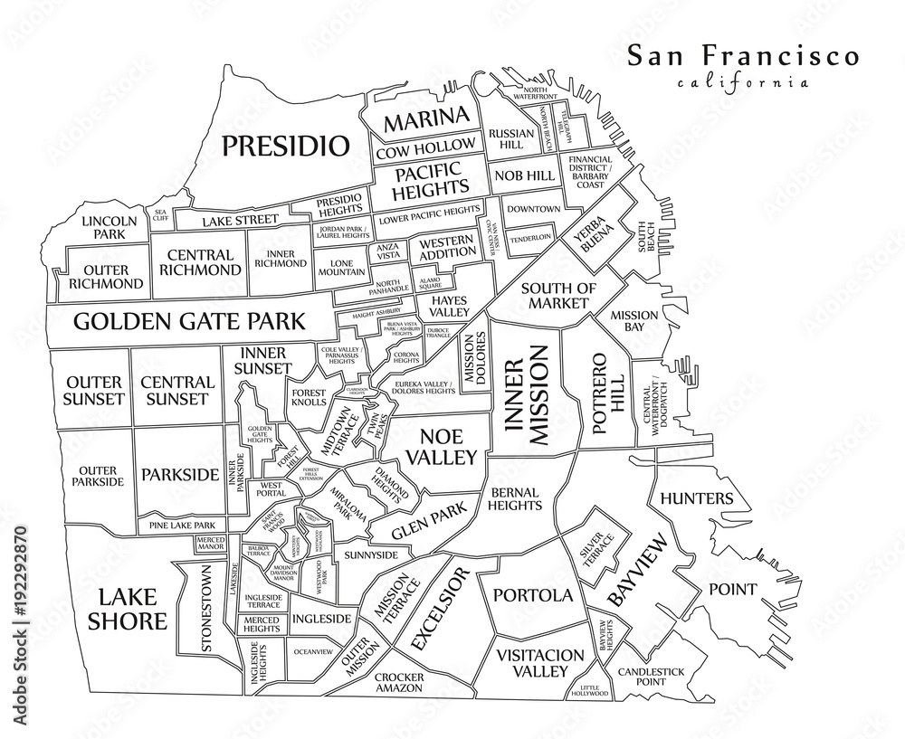 Modern Map - San Francisco city of the USA Foto, Poster ...