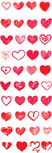 Valentines Day Harts / Creative Valentines Conceptual Vector. Set Of Valentines Day Hearts.