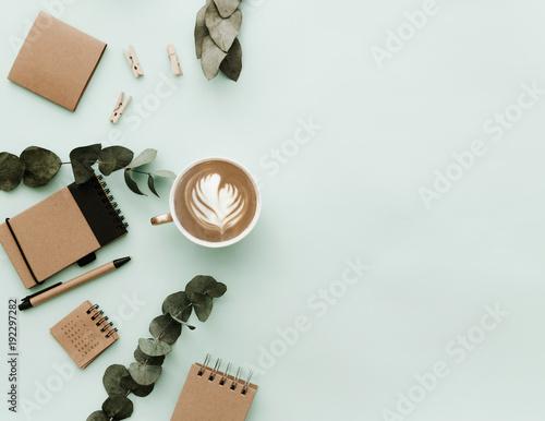 Fototapeta Simple Trendy Office Desk with Coffee and craft elements obraz na płótnie