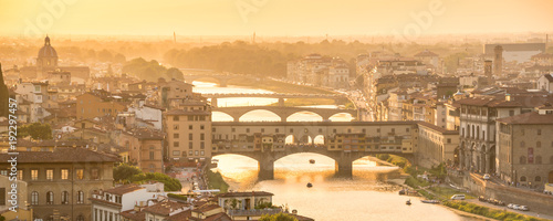 Garden Poster Florence Panoramic aerial view of Florence at sunset with the Ponte Vecchio and the Arno river, Tuscany, Italy