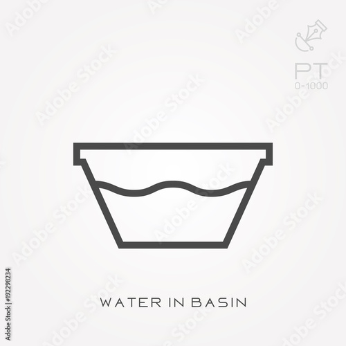 Photo Line icon water in basin