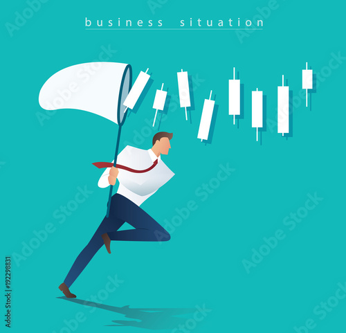 businessman trying to catch candlestick chart business concept Canvas Print