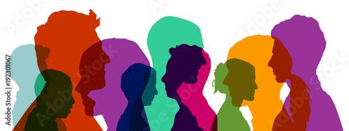 Fotografie, Tablou  Gruppe von Köpfen in verschiedenen Farben
