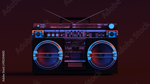 Fotografia  Boombox Moody 80s lighting 3d illustration