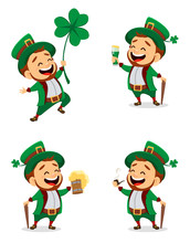 Set Of Cartoon Funny Leprechaun