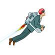 Man flying jet pack pop art style vector