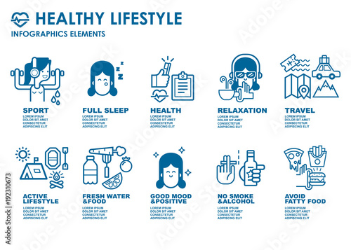 Sport And Healthy Lifestyle Infographics Elements For Advertising Banner Or Poster With Different Sport And Fitness Healthy Food And Training Bold Line Flat Design Isolated Vector Clipart Buy This Stock Vector