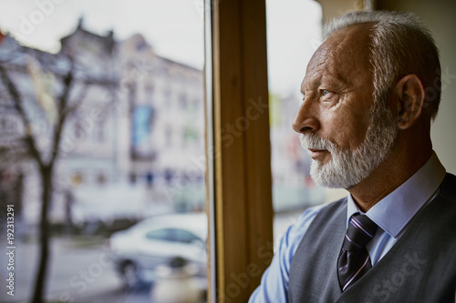 Portrait of senior man looking through window