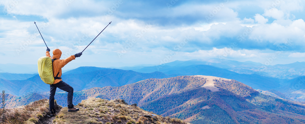 Fototapety, obrazy: Hiker enjoying the trip in the top of mountain.