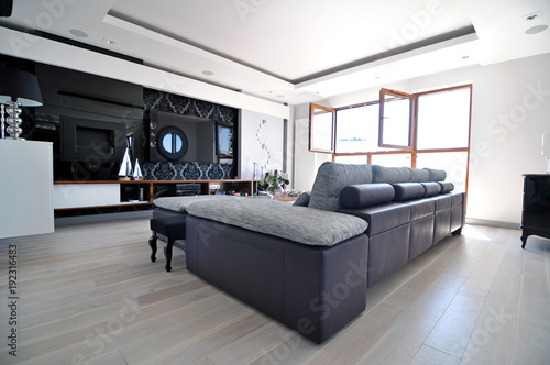 Obraz modern living room - fototapety do salonu