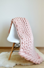Giant Pink Plaid Blanket Woole...