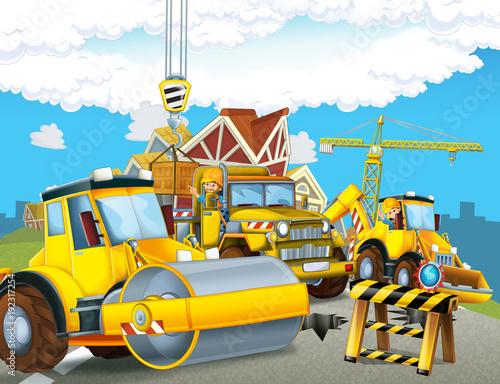 Kreskówki drogowego rolownika ciężarówka w mieście - ilustracja dla dzieci